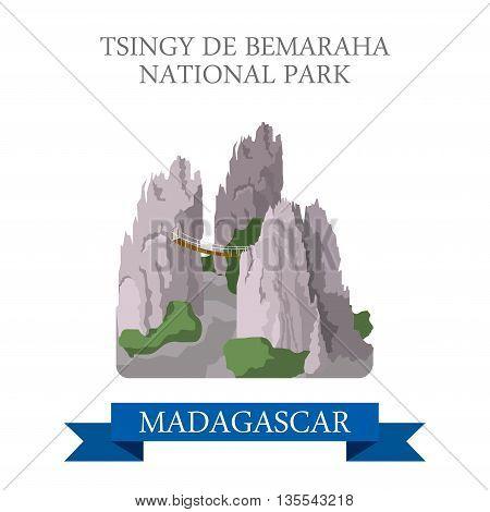 Tsingy de Bemaraha National Park Madagascar Flat historic vector