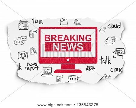 News concept: Painted red Breaking News On Screen icon on Torn Paper background with  Hand Drawn News Icons