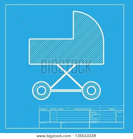 Pram sign illustration. White section of icon on blueprint template.