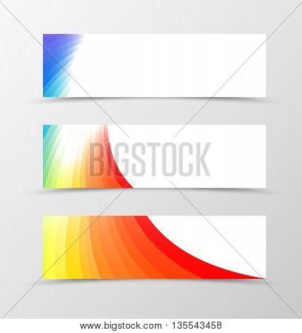Set of banner rainbow design. Bright banner for header. Design of banner in rainbow style. Vector illustration