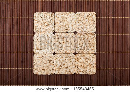 Square Composition Of Nine Crunchy Rye Crispbreads