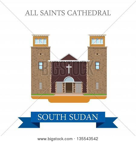 All Saints Cathedral South Sudan Flat sight vector illustration