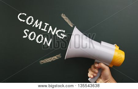 megaphone with text coming soon