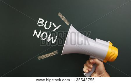 megaphone with text buy now