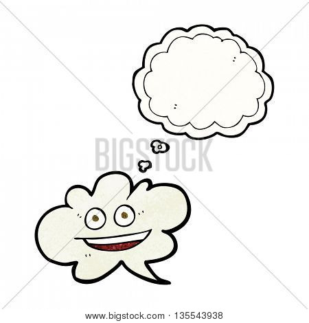 freehand drawn thought bubble textured cartoon cloud thought bubble with face