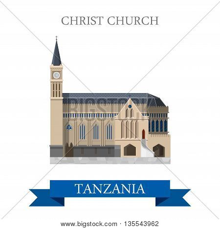 Christ Church Zanzibar Tanzania Flat travel vector illustration