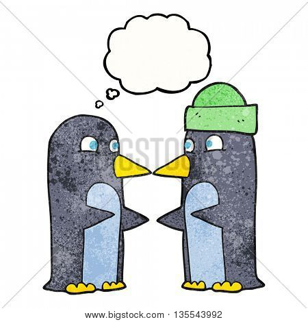 freehand drawn thought bubble textured cartoon penguins