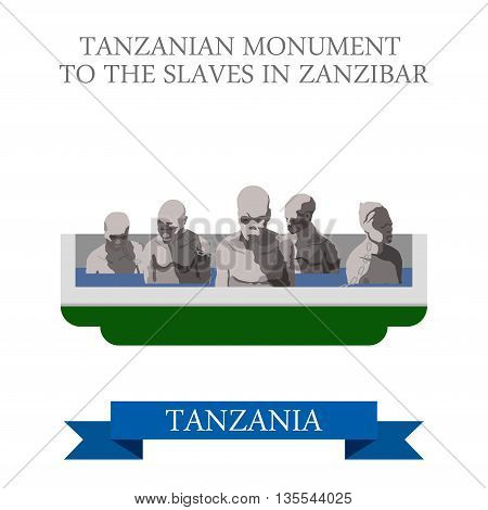 Tanzania Monument Slaves Zanzibar. Flat travel vector historic