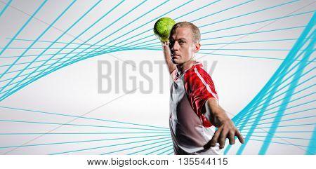 Sportsman throwing a ball against blue angular design