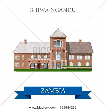 Shiwa Ngandu Zambia. Flat historic sight web vector illustration