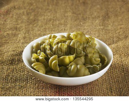 gnocchi pasta on the sackcloth