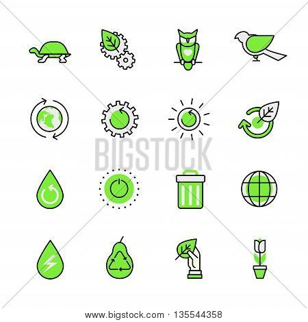 Green planet nature ecology lineart web flat vector icon set.