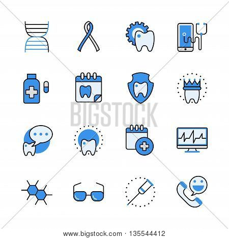 Health care medical dental help lineart web flat vector icon set