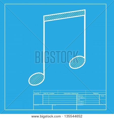 Music sign illustration. White section of icon on blueprint template.
