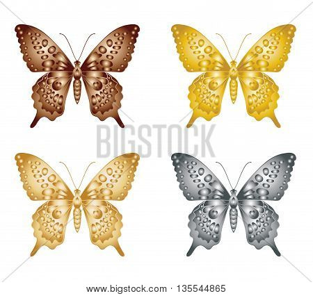 Set of gold silver butterfly on a white background a collection of butterflies. Vector illustration