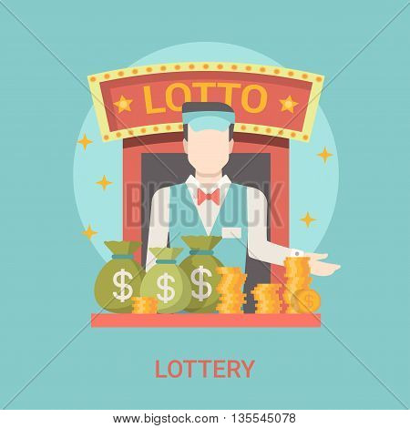 Lucky life concept vector illustration set Fortune Lottery web.
