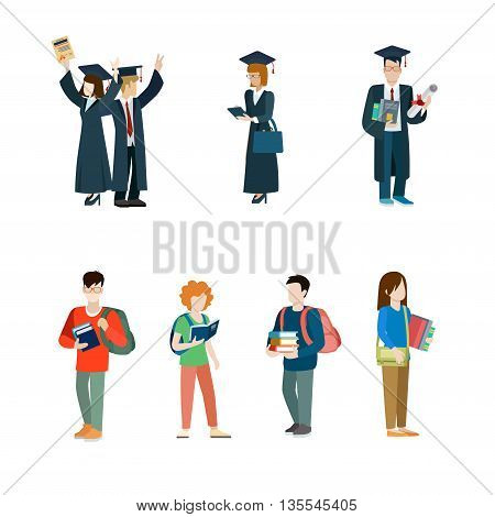 Student vector icon set. Graduate students mantle illustration
