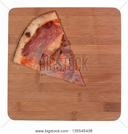 slice of pizza speck and gorgonzola on bamboo