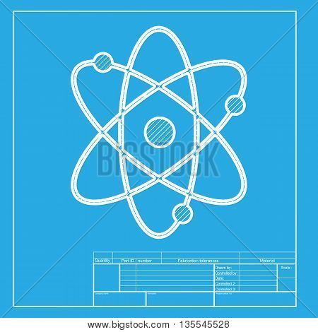 Atom sign illustration. White section of icon on blueprint template.