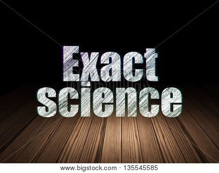 Science concept: Glowing text Exact Science in grunge dark room with Wooden Floor, black background