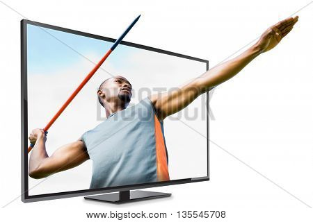 Low angle view of sportsman practicing javelin throw against blue sky with clouds