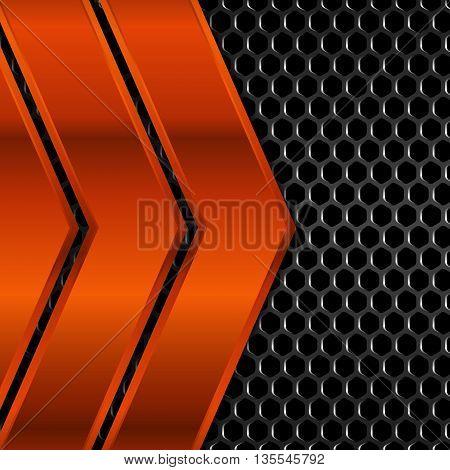 Geometric pattern of hexagons with orange metal plates, Vector Illustration