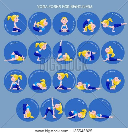 Cartoon blonde girl in Yoga poses with titles for beginners isolated on blue background. Yoga Poses round icons with captions. Contain the Clipping Path
