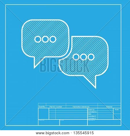 Speech bubbles sign. White section of icon on blueprint template.