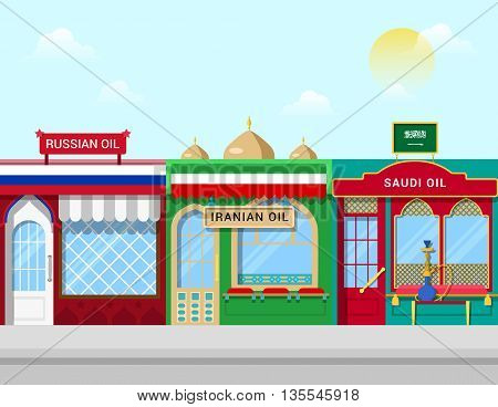 Oil shops concept vector illustration Russian Iranian Saudi