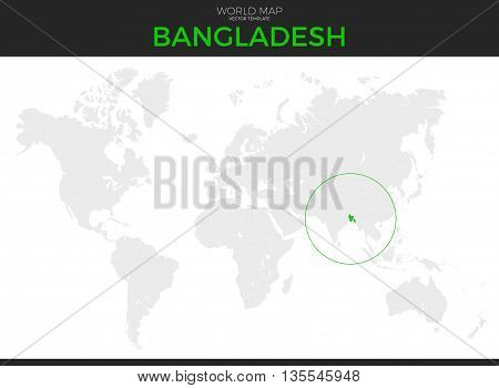 People's Republic of Bangladesh location modern detailed vector map. All world countries without names. Vector template of beautiful grayscale map design with selected country and border location