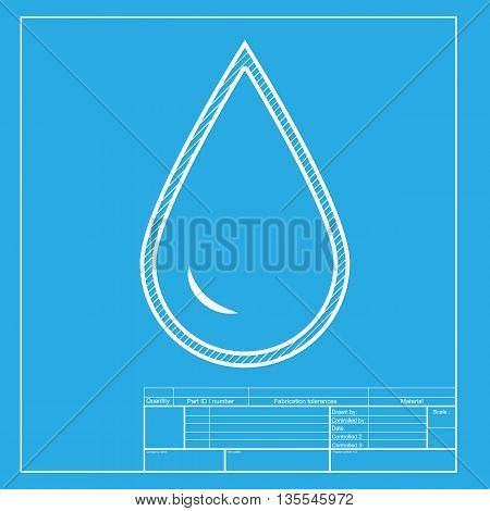 Drop of water sign. White section of icon on blueprint template.