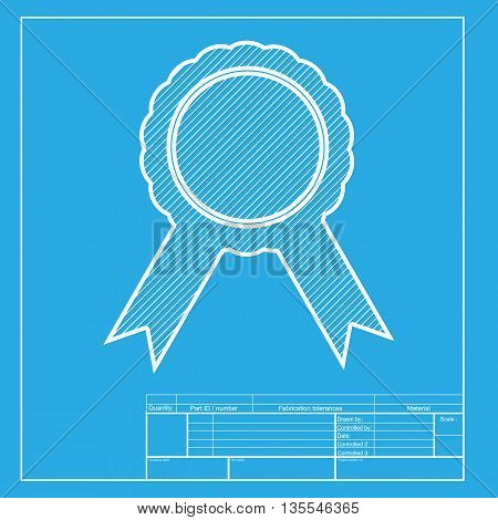 Label sign ribbons. White section of icon on blueprint template.