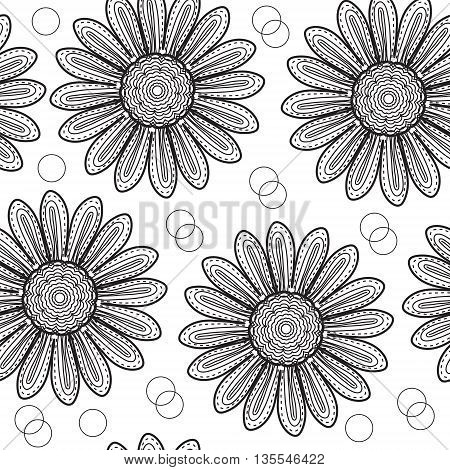 Floral seamless pattern chrysanthemum in the style of hand drawing. Black and white flowers. Vector illustration