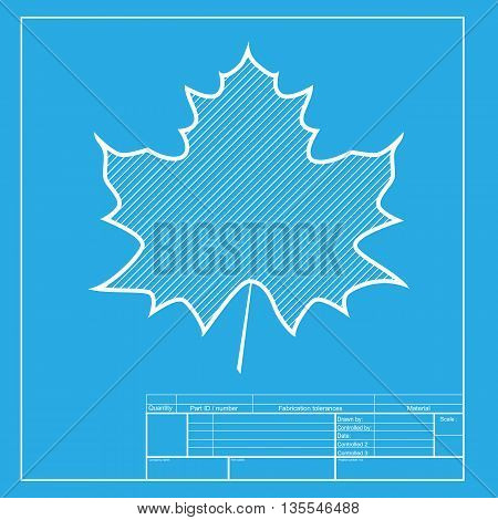 Maple leaf sign. White section of icon on blueprint template.