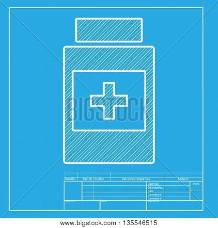 Medical container sign. White section of icon on blueprint template.