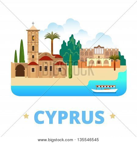 Cyprus country design template Flat cartoon style web vector