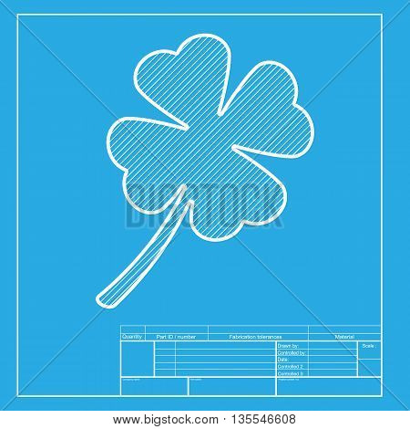 Leaf clover sign. White section of icon on blueprint template.