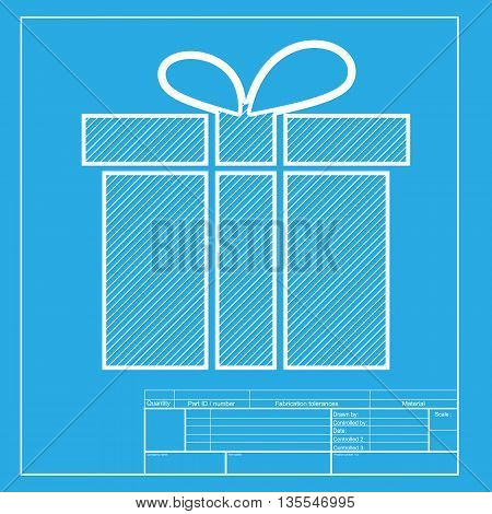 Gift box sign. White section of icon on blueprint template.