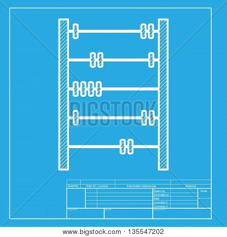 Retro abacus sign. White section of icon on blueprint template.