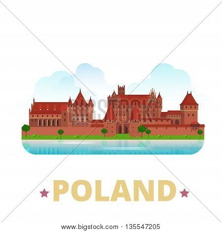 Poland country design template Flat cartoon style web vector
