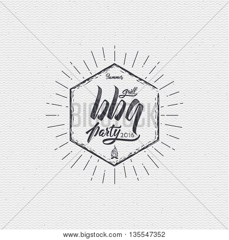BBQ party - insignia is made with the help of lettering and calligraphy skills, use the right typography and composition.