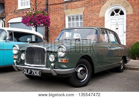 AMERSHAM, UK - SEPTEMBER 13: A vintage Vanden Plas Princess motorcar is parked on the side of the highway as a static display at the Amersham Heritage Day festival on September 13, 2015 in Amersham.