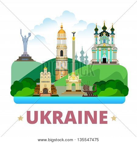 Ukraine country design template Flat cartoon style web vector