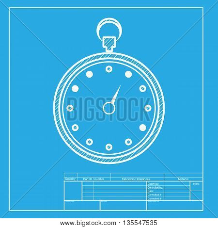 Stopwatch sign illustration. White section of icon on blueprint template.