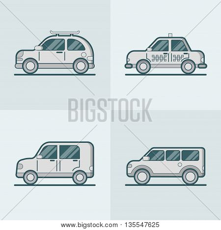 Passenger car van transport Linear stroke outline flat vector
