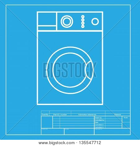 Washing machine sign. White section of icon on blueprint template.
