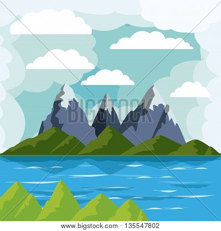 lake landscape design, vector illustration eps10 graphic