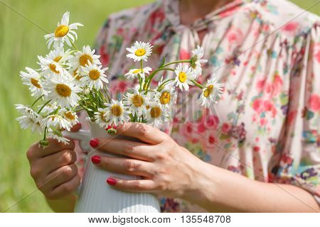 Woman Hands Hold Bouquet Of Fresh Wild Daisies In Vase