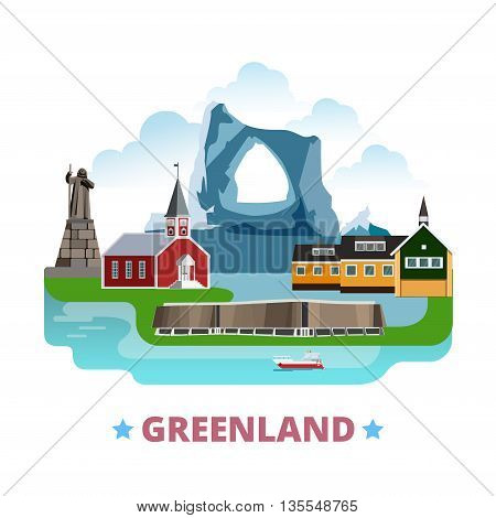 Greenland country design template Flat cartoon style web vector