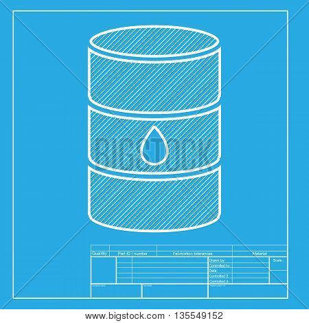 Oil barrel sign. White section of icon on blueprint template.